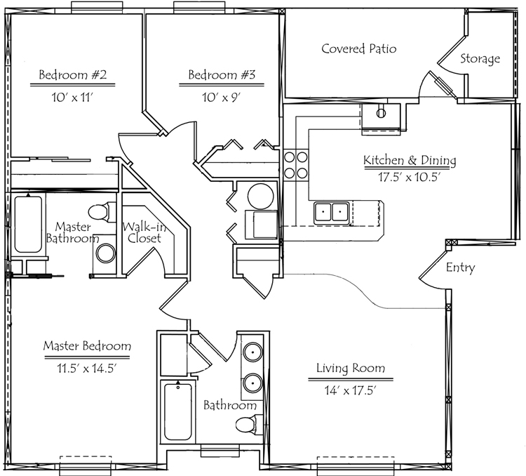 3 Bedroom,2 Bathroom 1,204 Square Feet   Floor Plan Phase 2