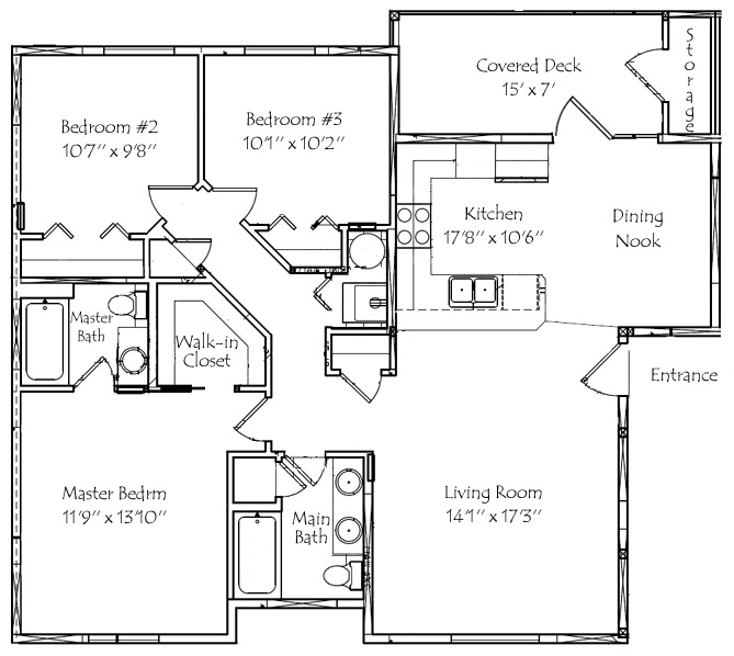 Amazing 3 Bedroom,2 Bathroom 1,204 Square Feet   Floor Plan Phase 2